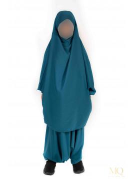 Jilbab enfant 2 pièces serwal - Bleu canard