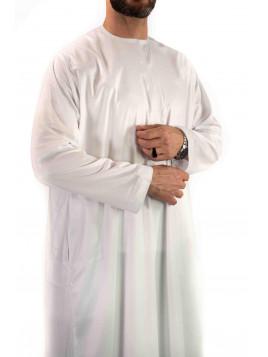 Qamis Emirati - Precious - Blanc Satiné - Custom Qamis
