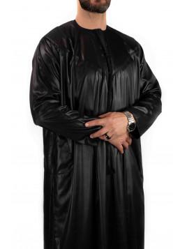 Qamis Emirati - Precious - Noir Satiné - Custom Qamis