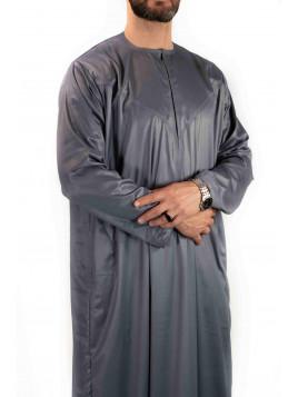 Qamis Emirati - Precious - Gris satiné - Custom Qamis