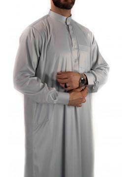 Qamis Saoudien avec col - Gris clair