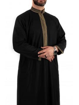 Qamis sultan avec broderie - Noir / Blanc