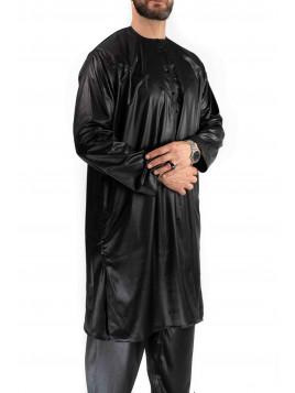 Qamis Emirati court Noir avec pantalon - tissu satiné