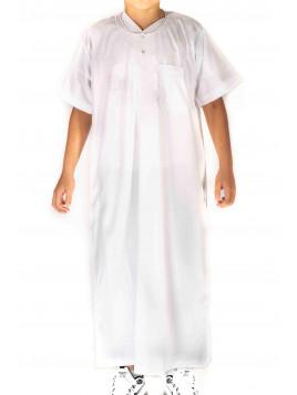 Qamis Atlas Enfant / Ado - manches courtes - Blanc