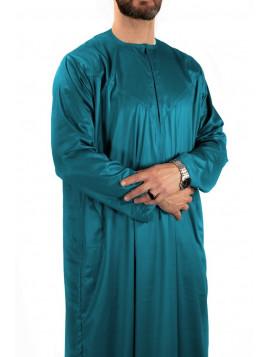 Qamis Emirati - Precious - Vert bleuté satiné- Custom Qamis