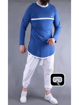 T-Shirt Bicolore Manches longues - Bleu Indigo et Blanc - Qaba'il