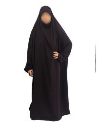 Jilbab 1 Pièce - Aubergine Foncé 109 - Wool Peach - El Bassira