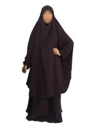 Jilbab 2 Pièces Jupe Aubergine Foncé 109 - Wool Peach - El Bassira