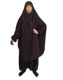 Jilbab 2 Pièces Serwal - Aubergine foncé 109 - Wool Peach - El Bassira