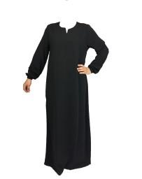 Abaya Manches élastiques - Noir 1 - Wool peach - El Bassira