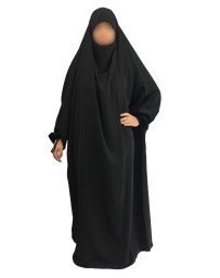 Jilbab 1 Pièce - Noir 1- Wool Peach - El Bassira