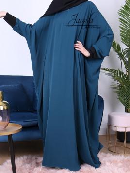 Abaya papillon Bleu Pétrole - tissu microfibre - Jamila