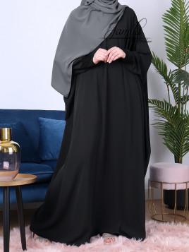 Abaya papillon Noir- tissu microfibre - Jamila